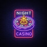 Night casino logo in neon style. Roulette Neon sign, bright luminous banner, night billboard, bright advertisement of. Casinos, gaming machines and gambling for Stock Photo