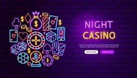 Night Casino Neon Banner Design royalty free illustration