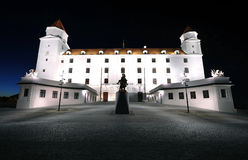 Night castle in Bratislava Royalty Free Stock Photo