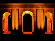 Night Castle - colonnade. Night colonnade Lednice Castle in Czech Republic south Stock Photo