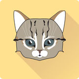 Night Cat Face Circle Icon. Flat Design Vector Illustration with Long Shadow. Witch Animal Symbol. Royalty Free Stock Photography