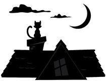 Night cat silhouette. Silhouette night sitting on the roof of a cat Stock Illustration
