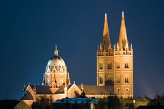 Night cathedral Stock Images