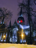 Night Cathedral. Cathedral neo-Gothic building church in Lviv center of Europe Royalty Free Stock Images