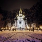 Night Cathedral in winter. View of the Cathedral of winter with beautiful lanterns Royalty Free Stock Images