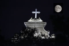 Night Catholic Church royalty free stock images
