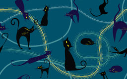 Night cats seamless  vector texture Royalty Free Stock Images