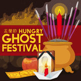 Night Celebration of Hungry Ghost Festival with Traditional Offerings, Vector Illustration Royalty Free Stock Photography