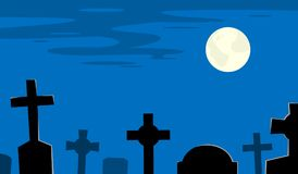 Night cemetery with tombs and moon Royalty Free Stock Images