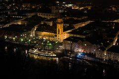 Night in center of Passau city. Bavaria, Germany. stock photography