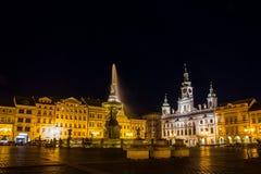 Night Ceske Budejovice. South Bohemia stock photography