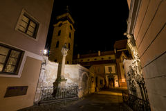 Night in Ceske Budejovice town Stock Images