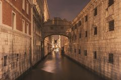 Night channel in Venice. Straight water channel between big buildings by night in Venice, Italy stock photos