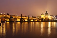 Night Charles bridge Royalty Free Stock Images