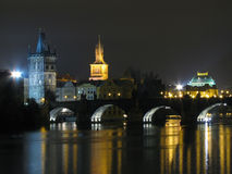 Night charles bridge. Charles bridge at night, Prague Royalty Free Stock Image