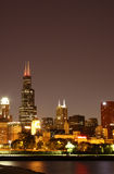 Night Chicago skyline. Viewed from pier along Lake Michigan Royalty Free Stock Image
