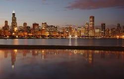 Night Chicago Skyline Royalty Free Stock Photography