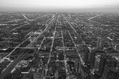 Night Chicago from Willis Tower, Black and white Royalty Free Stock Photo
