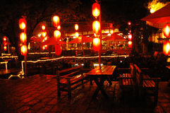 Night china. The outdoor cafes at night,china Stock Image