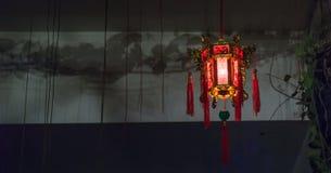 Night Chinese lantern. Chinese lantern hanging on the ceiling at night Stock Photos
