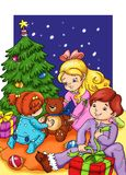 The night of Christmas. Colored illustration of three children that opens their gifts close to the tree Royalty Free Stock Photo