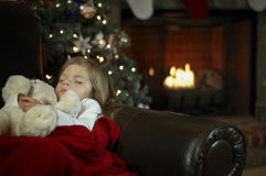The Night Before Christmas. A little girl sleeps in anticipation for Christmas Royalty Free Stock Photography