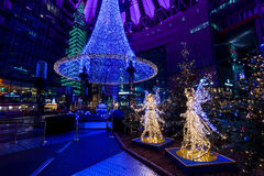Night Christmas Berlin. BERLIN - DECEMBER 07, 2016: Sony Center at Potsdamer Platz in the Christmas illuminations stock photography
