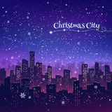 Night Christmas cityscape. Night cityscape Christmas background with falling snow, and lights Stock Images