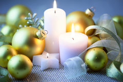 Night Christmas Decorations  with candles - horizontal Royalty Free Stock Images