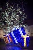 Night christmas decorations in city, christmas illumination. Stock Image
