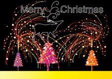 Night Christmas_eps. Illustration of night Christmas with fireworks Royalty Free Stock Photos
