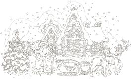 Santa with gifts and his sledge royalty free illustration