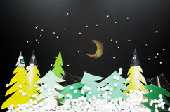 Night at Christmas forest Royalty Free Stock Photography