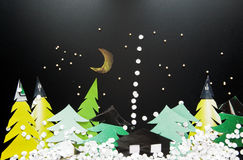 Night at Christmas forest Royalty Free Stock Image