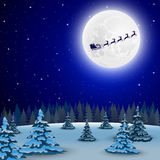 Night christmas forest landscape. Santa Claus flies reindeer in Royalty Free Stock Photo