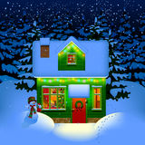 Night Christmas house Royalty Free Stock Photos
