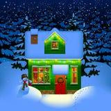 Night Christmas house stock illustration