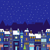 Night christmas town background Stock Image