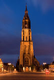 Night church. The New Church. Delft, the Netherlands. The center of the city - central market square Stock Photography