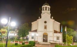 Night. Church in the center of old Pomorie in Bulgaria stock image