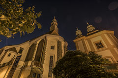 Night church in Ceske Budejovice city Royalty Free Stock Images
