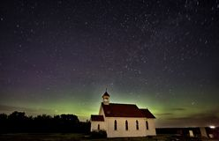 Night Church Northern Lights Royalty Free Stock Photos