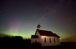 Night Church Northern Lights Stock Photos