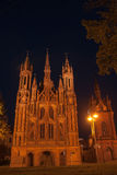 Night church in Vilnius Stock Photo