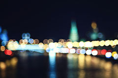 Night city ​​lights at horizon Stock Image