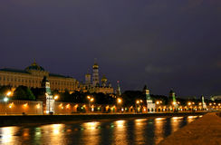 Night city. The nightly landscape of capital of Russia is the cities of Moscow Royalty Free Stock Images