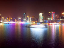 Night City. Guangzhou is the center city of southern China, the Pearl River night is most beautiful scenery. 16th Asian Games held here on November 12 Royalty Free Stock Images