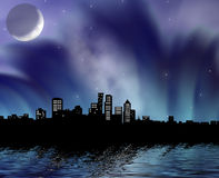 Night city. On a background of the moon in fantastic a smoke and reflection in water Stock Photo