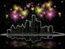 Night city. Fireworks over the city at night Royalty Free Stock Photos