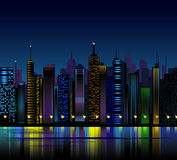 Night city. Vector background with night city Royalty Free Stock Images